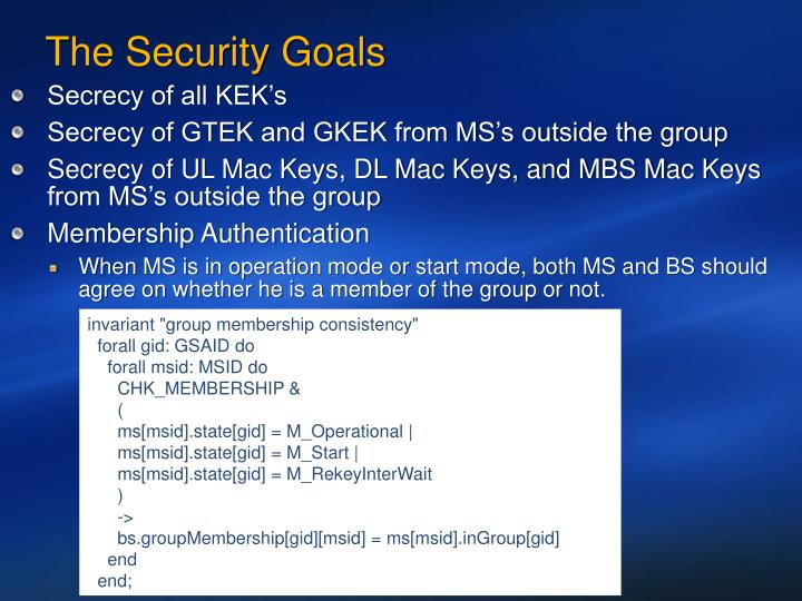 The Security Goals