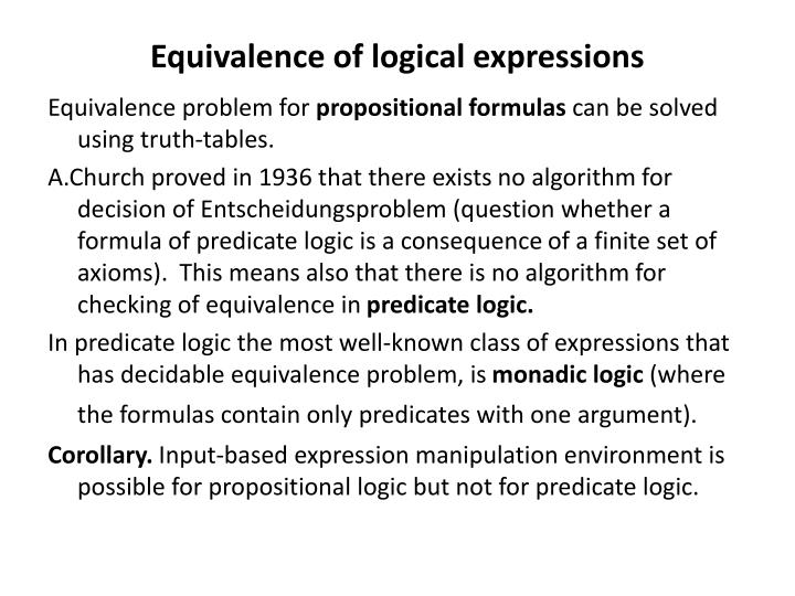 Equivalence of logical expressions