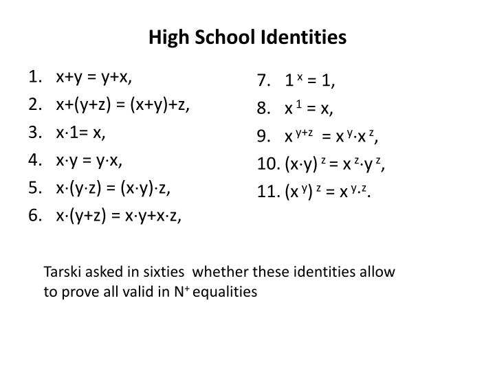 High School Identities