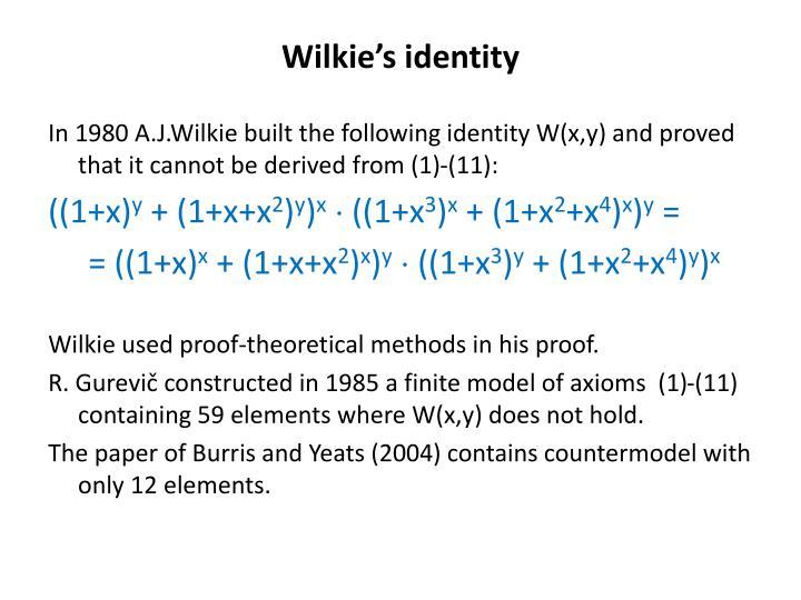 Wilkie's identity