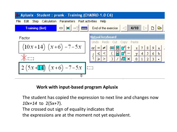 Work with input-based program Aplusix