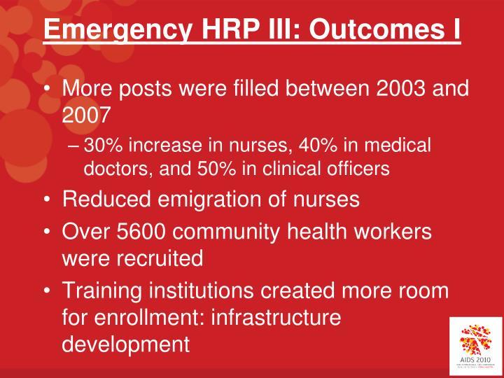 Emergency HRP III: Outcomes I