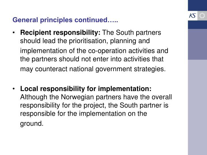 General principles continued…..