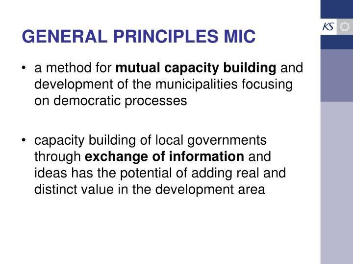 GENERAL PRINCIPLES MIC