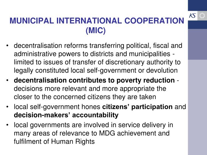 Municipal international cooperation mic