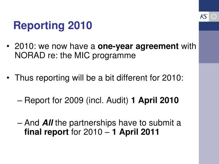 Reporting 2010
