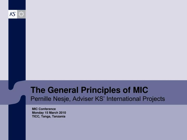 The general principles of mic pernille nesje adviser ks international projects