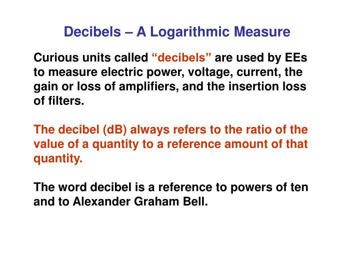 Decibels – A Logarithmic Measure