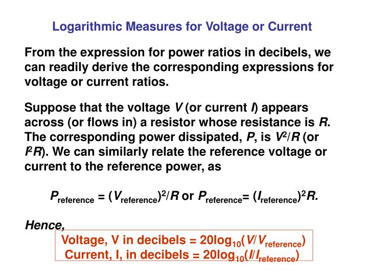 Logarithmic Measures for Voltage or Current