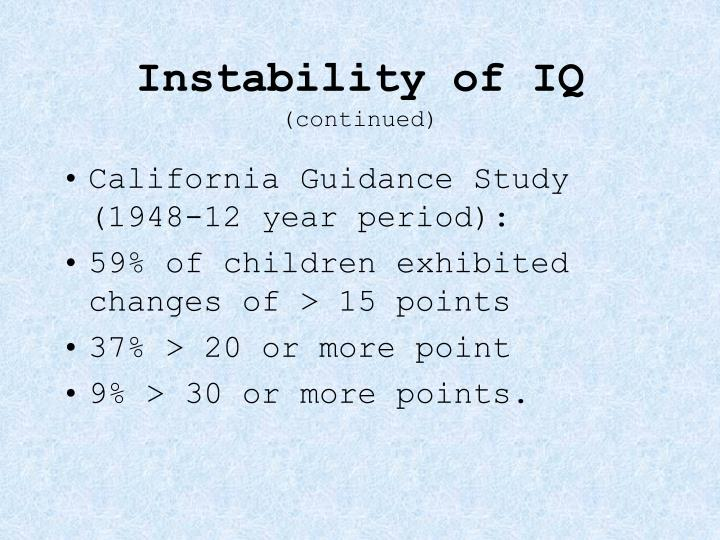 Instability of IQ