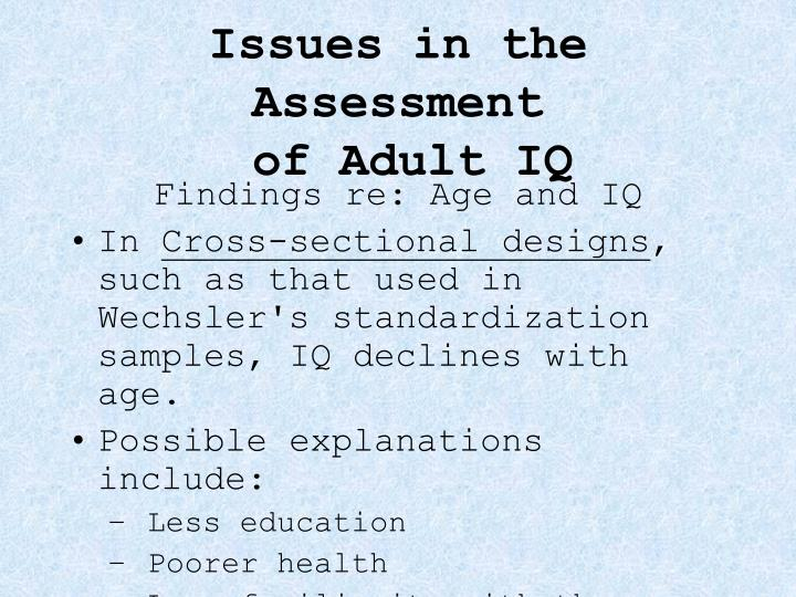 Issues in the Assessment