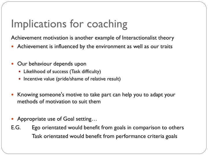 Implications for coaching