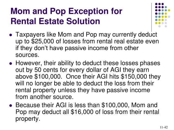 Mom and Pop Exception for Rental Estate Solution