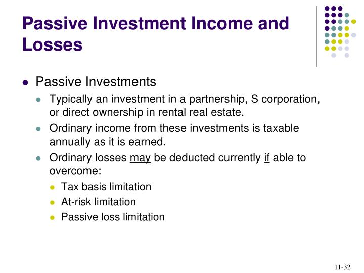 Passive Investment Income and Losses