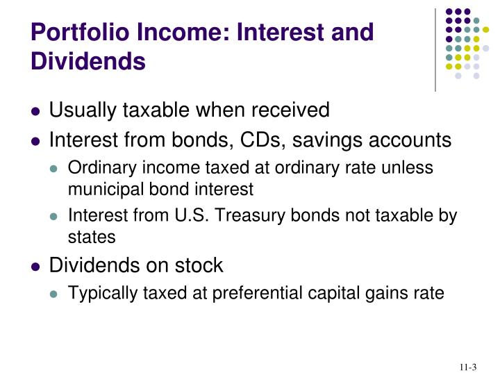 Portfolio income interest and dividends