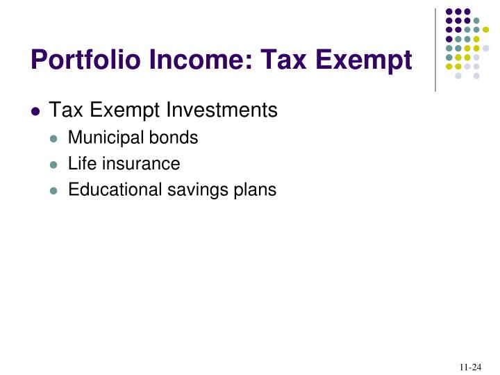 Portfolio Income: Tax Exempt