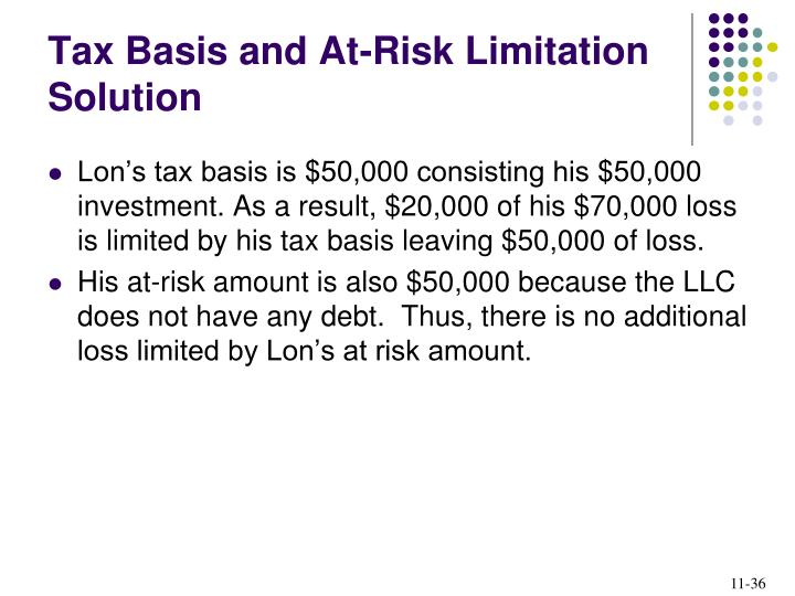 Tax Basis and At-Risk Limitation Solution