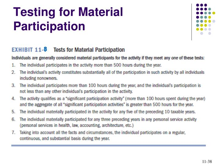 Testing for Material Participation