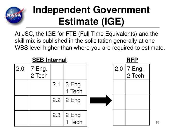 Independent Government Estimate (IGE)