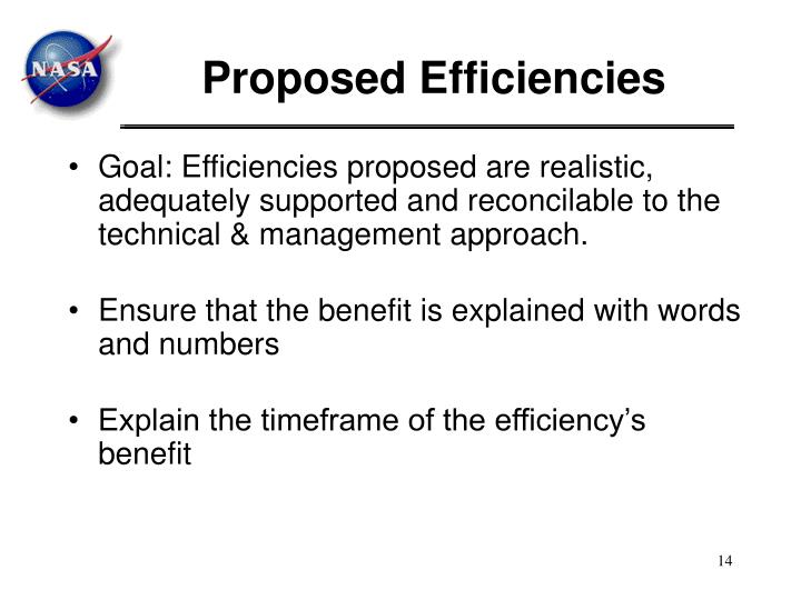 Proposed Efficiencies