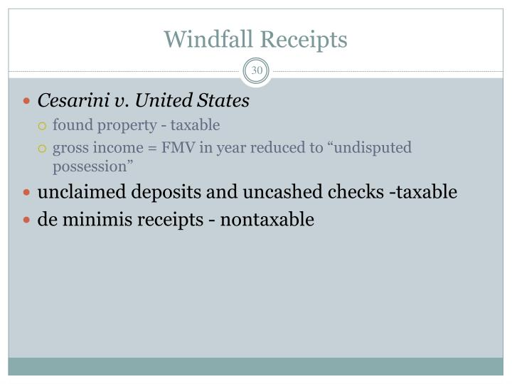 Windfall Receipts