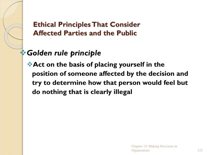 Ethical Principles That Consider