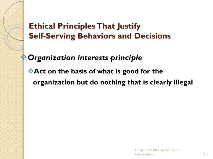 Ethical Principles That Justify