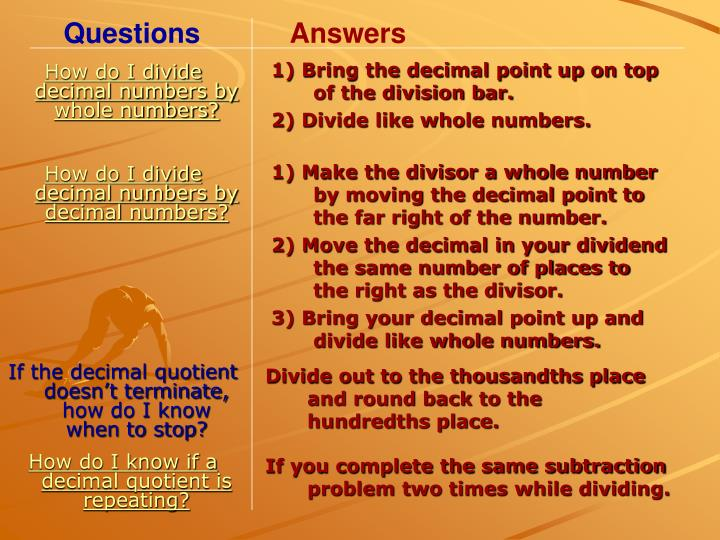 How do I divide decimal numbers by whole numbers?