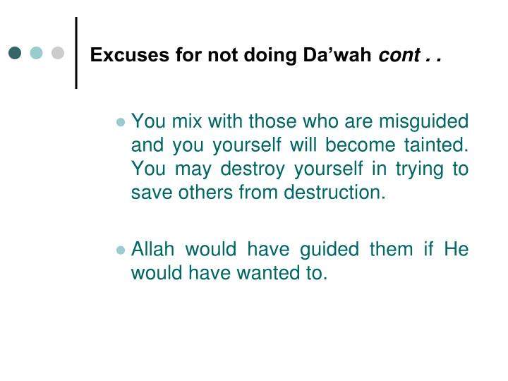 Excuses for not doing Da'wah