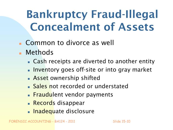 Bankruptcy Fraud-Illegal Concealment of Assets