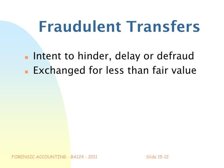 Fraudulent Transfers