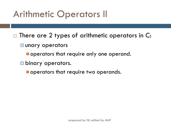 Arithmetic Operators II