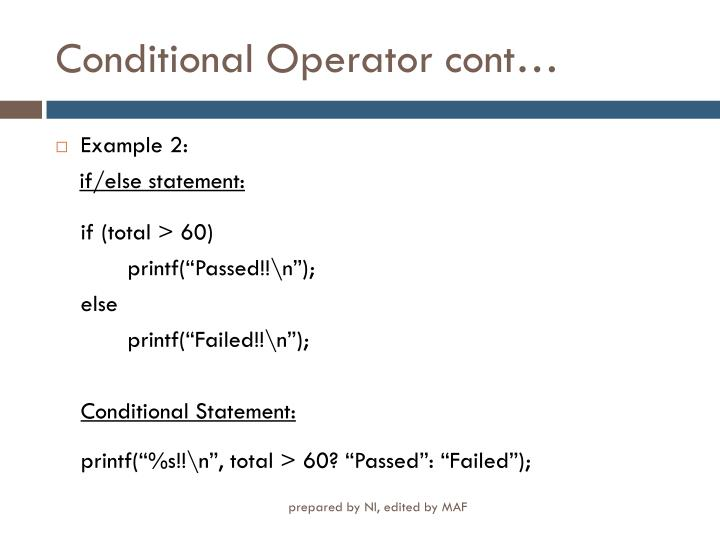 Conditional Operator cont…