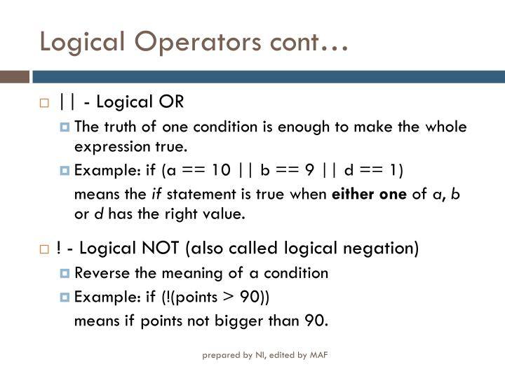 Logical Operators cont…