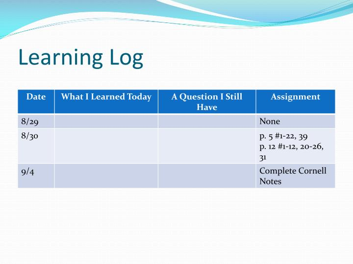 Learning Log