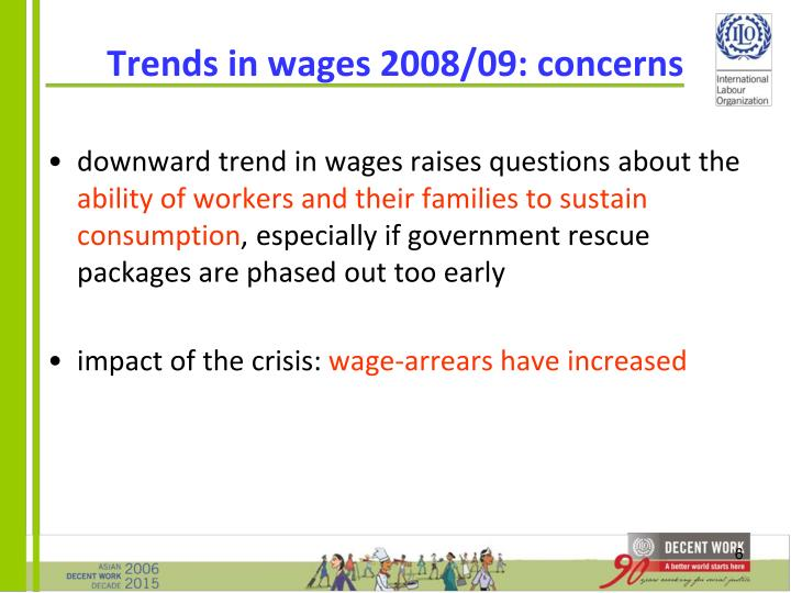 Trends in wages 2008/09: concerns