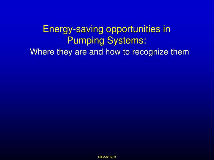 Energy saving opportunities in pumping systems