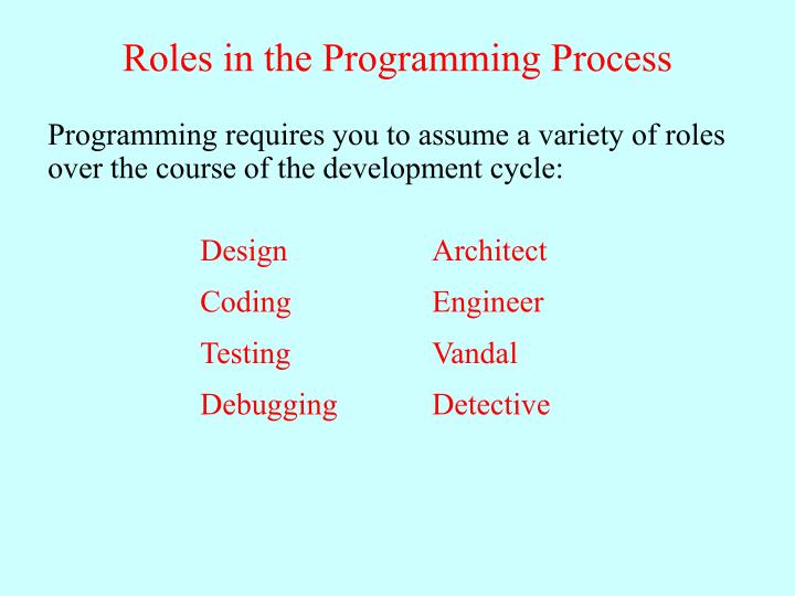 Roles in the Programming Process