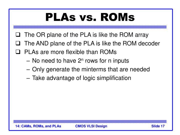 PLAs vs. ROMs