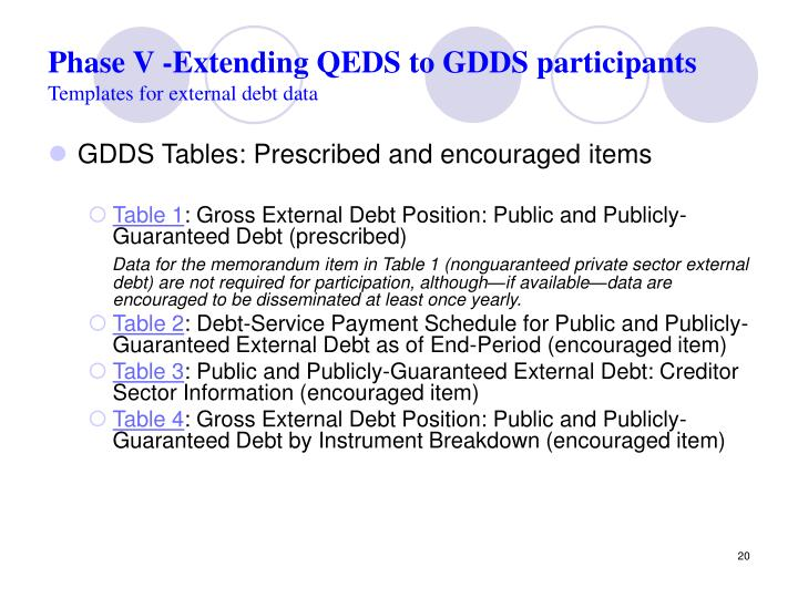 Phase V -Extending QEDS to GDDS participants