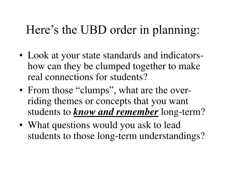 Here's the UBD order in planning: