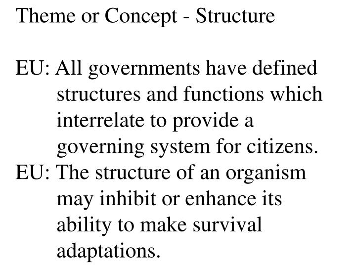 Theme or Concept - Structure