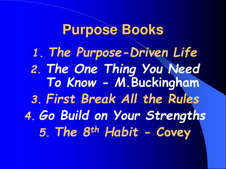 Purpose books