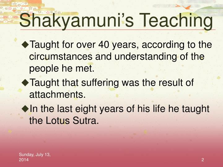 Shakyamuni s teaching