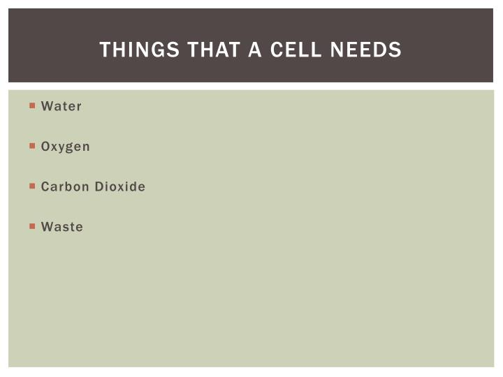 Things that a cell needs