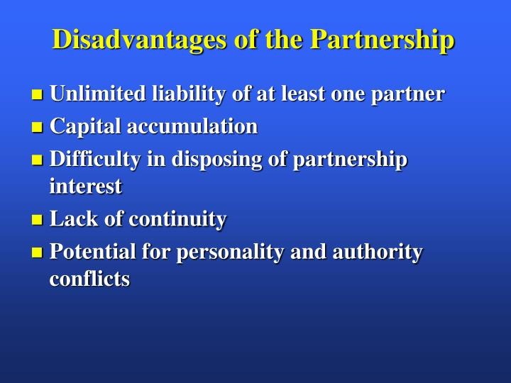 Disadvantages of the Partnership