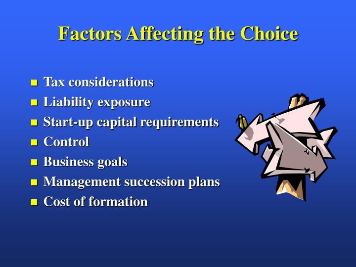 Factors affecting the choice