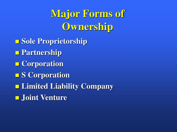 Major forms of ownership