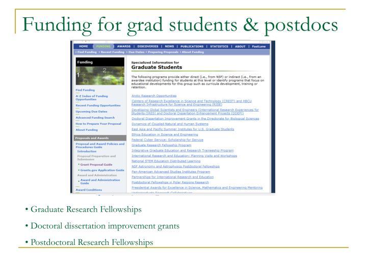 Funding for grad students & postdocs