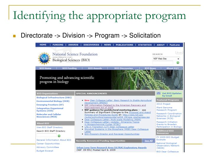 Identifying the appropriate program